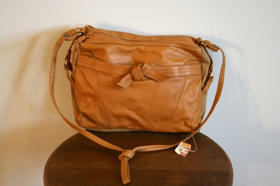 Tan Faux Leather and Canvas Purse