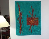 Beaded Fiber Art Wall Hanging - Red Bird in Jungle