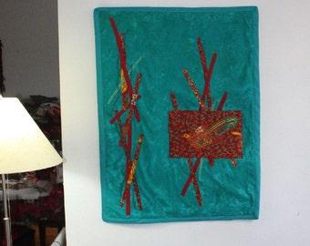 Beaded Fiber Art Wall Hanging - Red Bird in Jungle