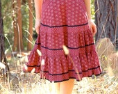 Gunne Sax Prairie Skirt... 1970s Boho Tiered Skirt... 100% Cotton... Black and Maroon... VASHTI (26 Inch Waist)