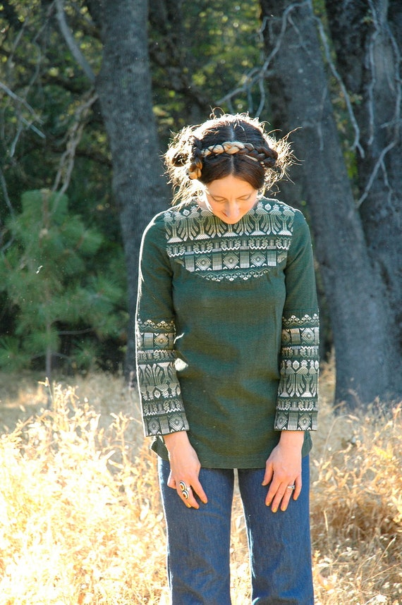 Vintage Boho Shirt... Embroidered Hippie Shirt... Green Ethnic Cotton Shirt... DEEP FOREST (xs)