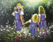 Three Sisters Art Print, three girls paintings flower garden three girlfriends, Forever Friends art, Vickie Wade art
