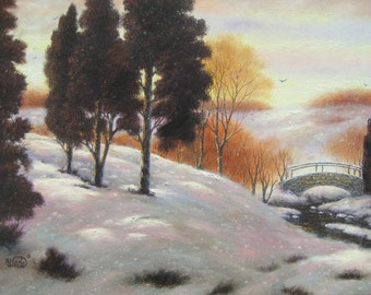 Snow Landscape Oil Painting 18X24 trees in snow, autumn, winter, foot bridge, snowy creek, Vickie Wade paintings