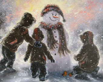 Snowman and Three Boys Art print, snowman paintings, three brothers, winter, snow paintings, wall decor, Vickie Wade Art, children in snow