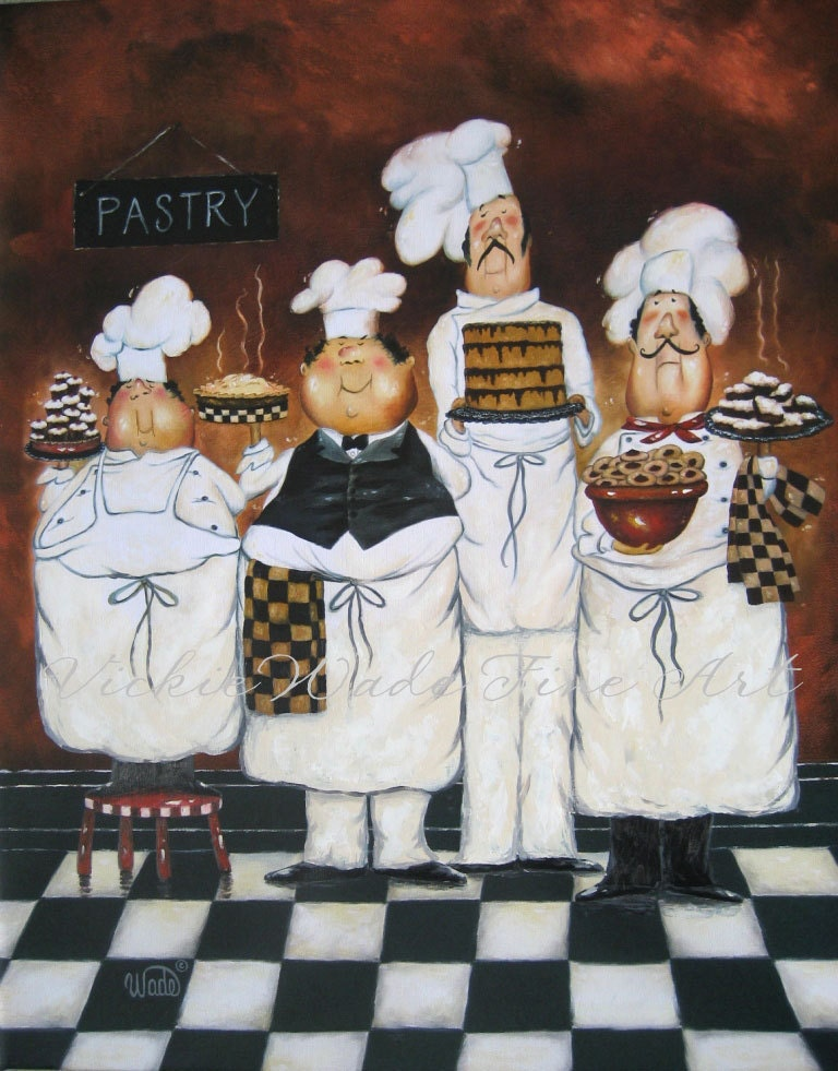 Four tall pastry chefs art print fat chef by vickiewadefineart for French kitchen artwork