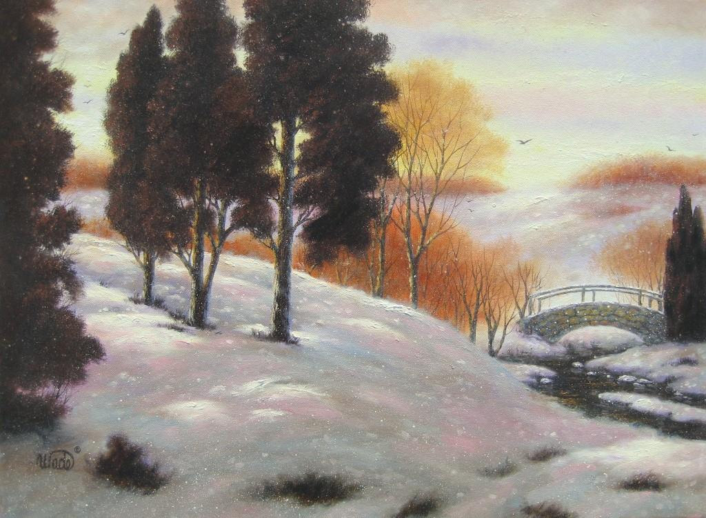 Snow Landscape Oil Painting 18x24 Trees In Snow Autumn