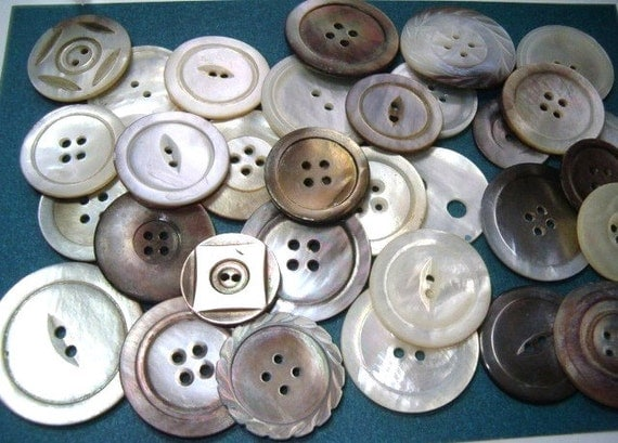 Antique Shell Buttons Abalone Mother of Pearl Collection Old Buttons Larger Sizes