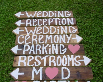 Wedding Signs NO RUSH FEE 8 wooden w/ Stakes directional country barn Reception outdoor decorations reclaimed custom personalized rustic