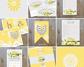 Owl Baby Shower Set of Printables / Yellow and Grey Owls with flowers / Instant Download / PRINTABLE / 61157
