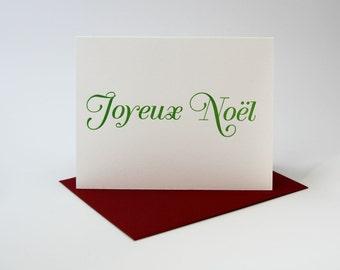 "Letterpress Christmas Card - Individual ""Joyeux Noel"" Card"
