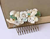OOAK Bridal Hair Comb - Beach Wedding Hair Accessories, Beach Party Head Piece, Seaglass Mint Aqua Green, Cream White