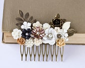 Autumn Hair Comb Floral Hair Accessory, Shabby Chic Head Piece, Rustic Elegant Hair Comb, Vintage Romantic Fall