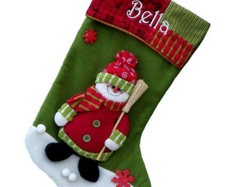Christmas Personalized Stocking - 3D Snowman