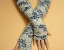 Flowered Boho Armwarmers with Thumb Holes, Long Romantic Fingerless Gloves, Olive Grey Purple, Tattoo Covers
