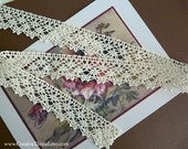 """6 1/8 Yards - Wide Cotton Lace Edging - Fine French Cotton Cluny Lace - Bridal - Costume Trim - Home Decor Trim - IVORY - 1"""" Wide - No. 225"""