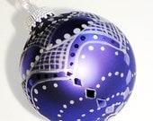 Christmas Ornament - Hand Painted Sapphire Blue, Silver Lace Design, Silver Ribbon Hanukkah Christmas Stocking Stuffer
