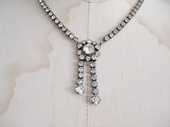 Vintage Rhinestone Lavalier Bridal Necklace