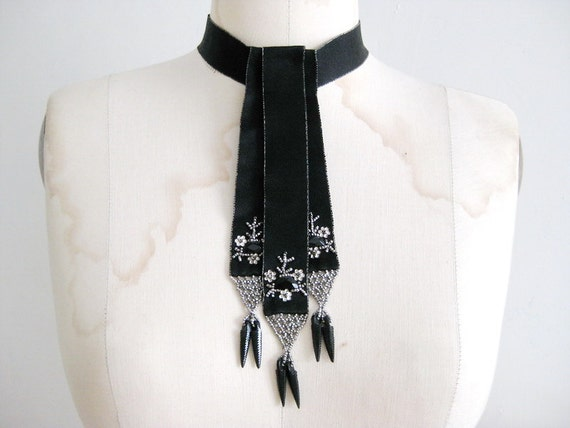 Antique Cut Steel Beads Handmade Black Satin Ribbon Necklace