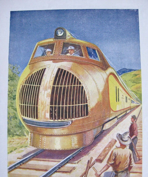 1950s Illustration Diesel Train & Gas Pump Double Sided