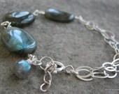 Marvel........Sterling Silver  Multi strand Labradorite Gemstone bracelet