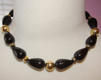Vintage Black Beaded Necklace, Signed Napier, 1980's