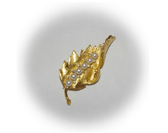 Vintage Gold Leaf Brooch, White Pearls, Rhinestones, 1970's 1980's