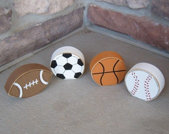 Free Standing SPORTS BALL themed block set for boy room, man cave, sports themed decor for shelf, desk and home decor