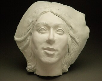 Ceramic Mask Wall Art Face, Classical Portrait Sculpture Head of a Spiritual Woman