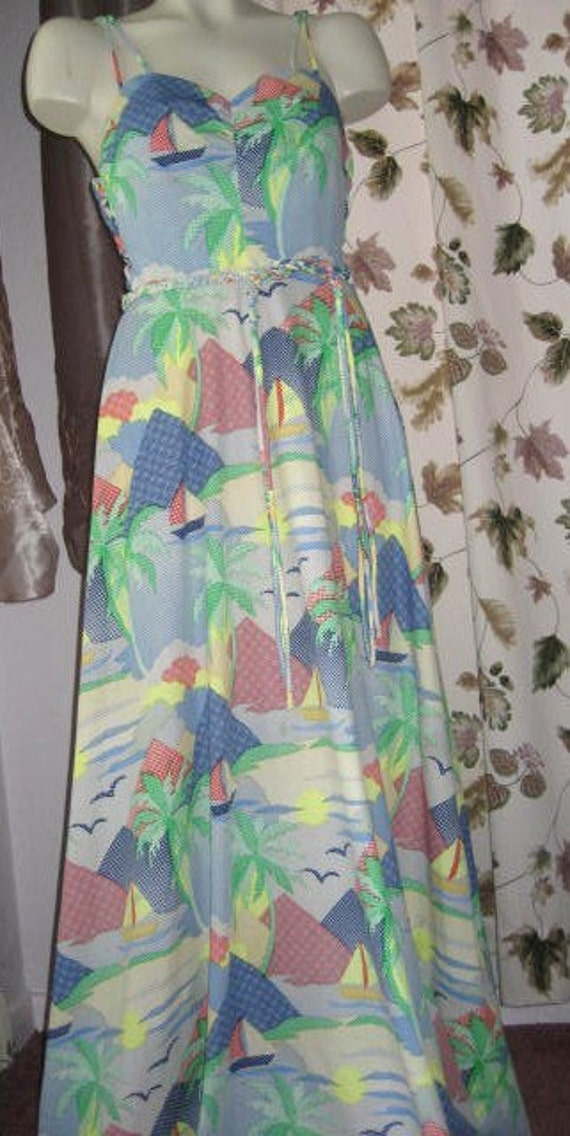 Vintage 70s Long Polyester Dress with Spaghetti Straps - Reserved for Senga and Jess