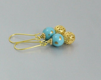 Tiffany Blue and Gold Earrings Vintage Porcelain Bead and Gold Filigree