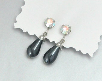 Charcoal Teardrop Earrings Vintage Sarah Coventry Prom or Wedding Jewelry