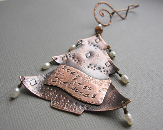 Personalized christmas tree ornament custom name copper