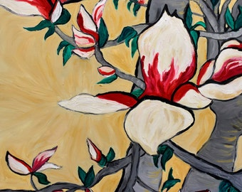 Oil Painting- Magnolias in bloom- by artist Katie Jurkiewicz