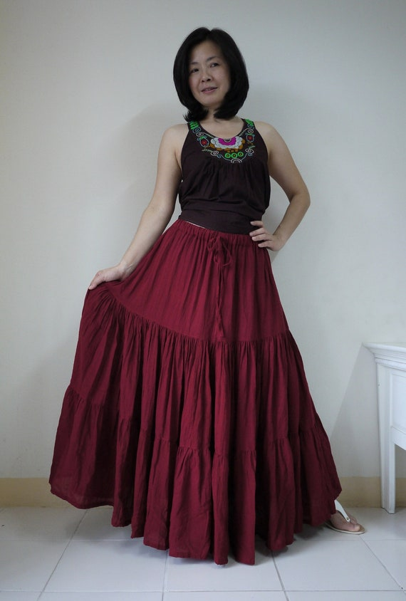 Meet You There... Steampunk Funky Dark Red Light Cotton Ruching Tiered Maxi Skirt