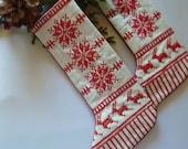 Nordic Redwork Christmas Stocking Ornament Deer Snowflake Design
