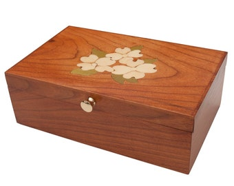 Wood Jewelry Box Treasure Box Cherry Dogwood Inlay, Custom Order