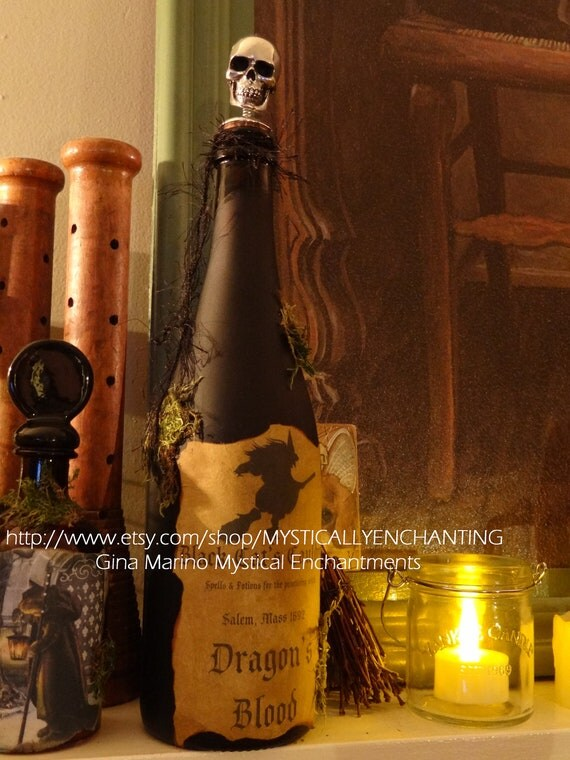 Primitive Halloween Witch Spell POTION Bottle