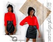 vintage 1960's red ruffle school teacher blouse