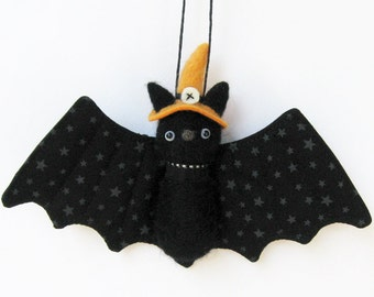 Halloween bat pulsh, needle felted bat plush with orange witch hat, felt animal ornament, fall decor,