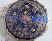 STRATTON Vintage Cobalt Blue Compact. Made in England. Mint Condition. With Bonus Yellow Bliss Guilloche Compact As A Gift