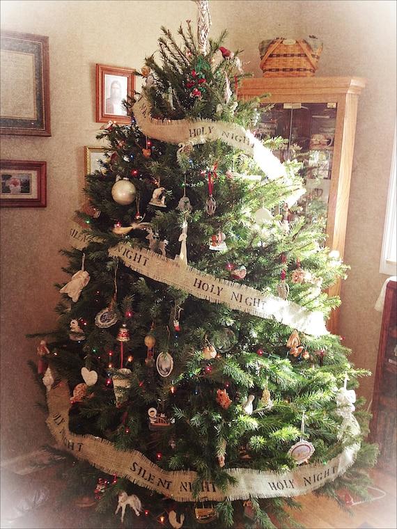 Silent Night Holy Night Burlap Christmas Tree Banner/Garland