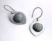 Sea Urchin earrings - metalwork - upcycled aluminum - matte and textured - titanium color