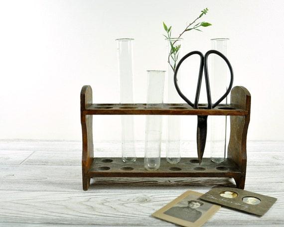 Vintage Chemistry Test Tube Rack / Wood Test Tube Rack with 4 Test Tubes
