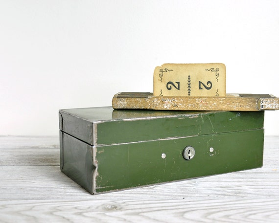 Vintage Army Green Metal Cash Box / Industrial Storage