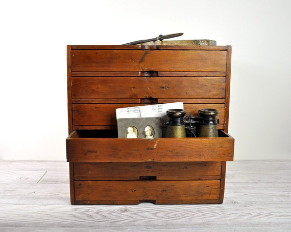 Vintage Hand Made Wood Chest with Drawers / Wooden Cabinet Storage Box / Industrial Storage