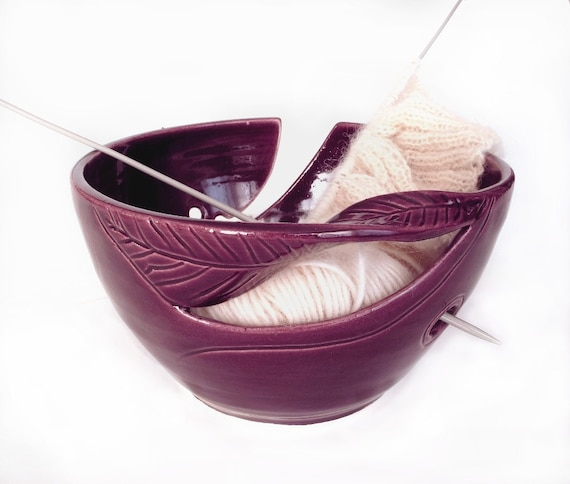 Plum Purple Yarn Bowl, Knitting Bowl, Eggplant, KNITTER accessories, twisted leaf, stoneware pottery gift Handmade ceramics