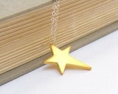 Star Necklace, Brass and Silver Star Charm Necklace, Mixed Metal Necklace - Wish Upon A Star