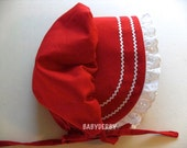 Red Bonnet Sunhat Sunbonnet cotton w/eyelet lace, sizes NB, 3,6,9,12.18.24 months