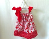 4T  Red and White Flowers Pillowcase style dress with Polka Dot border and Red sash