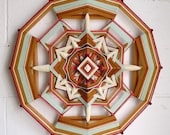 Golden Sage, an 24 inch, 12 sided, Ojo de Dios mandala,